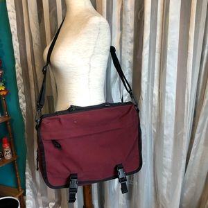L.L. Bean Red Canvas Messenger Large Canvas Bag